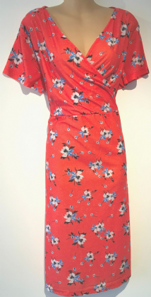 BNWT ORANGE FLORAL WRAP CHEST  DRESS PLUS SIZE 16, 18, 20, 22-24